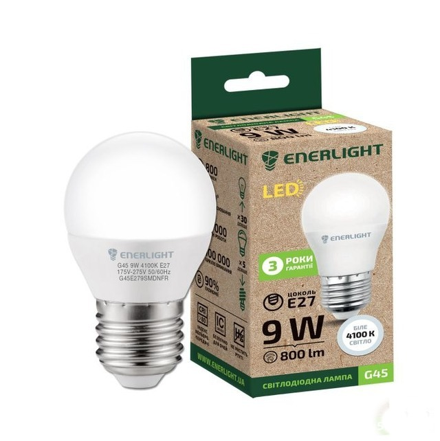 Лампочка LED ENERLIGHT G45 9W E27 4100K