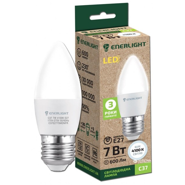 Лампочка LED ENERLIGHT C37 7W E27 4100K