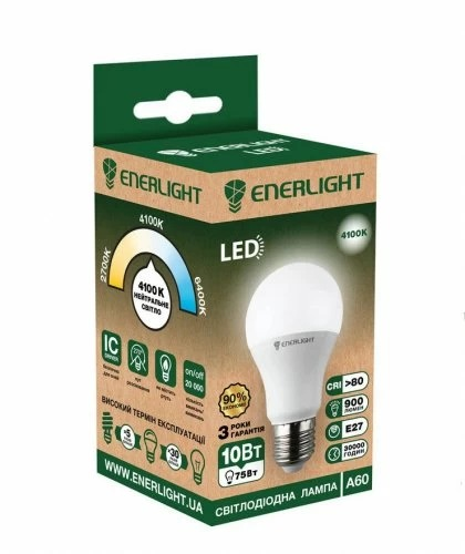 Лампочка LED ENERLIGHT A60 10W E27 4100K