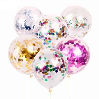 Кульки надувні з конфеті 5шт