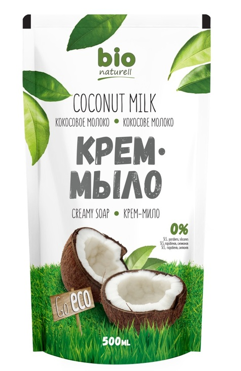 Крем-мило BIO Кокосове молоко дой-пак 500мл