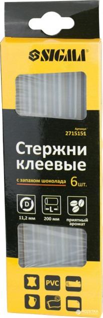 Клей силіконовий 6шт Sigma 2715151 запах шоколаду