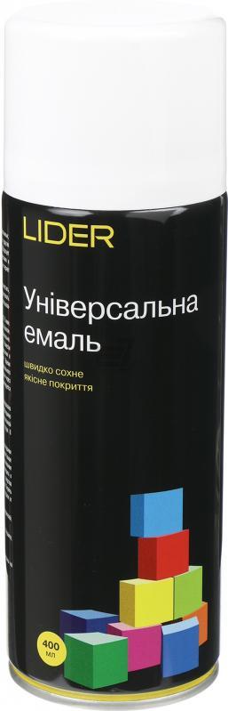Емаль LIDER універсальна 9010 білий глянець 400мл