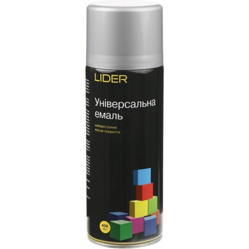Емаль LIDER універсальна 9006 сріблястий 400мл
