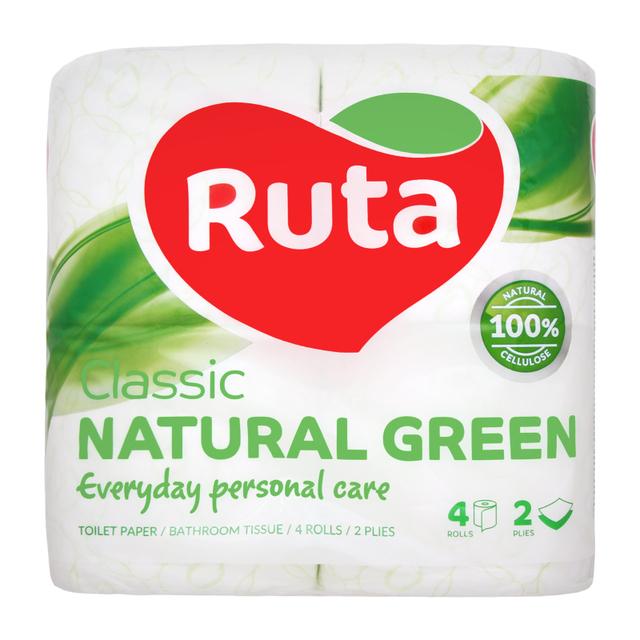 Папір туалетний 4шт Ruta Classic 2-х шаровий Зелений