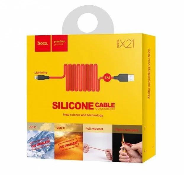 Шнур для зарядки IPhone hoco X21 1м чорно-червоний
