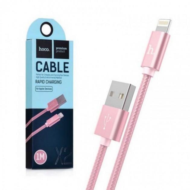 Шнур для зарядки Iphone Hoco Х2 1м рожевий
