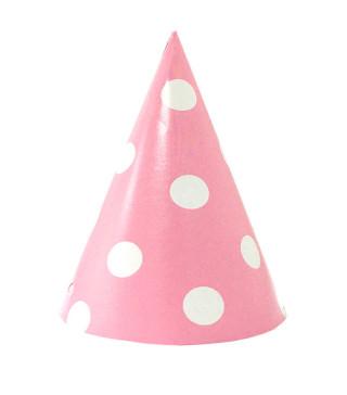 Ковпачок рожевий в білий горох F100008
