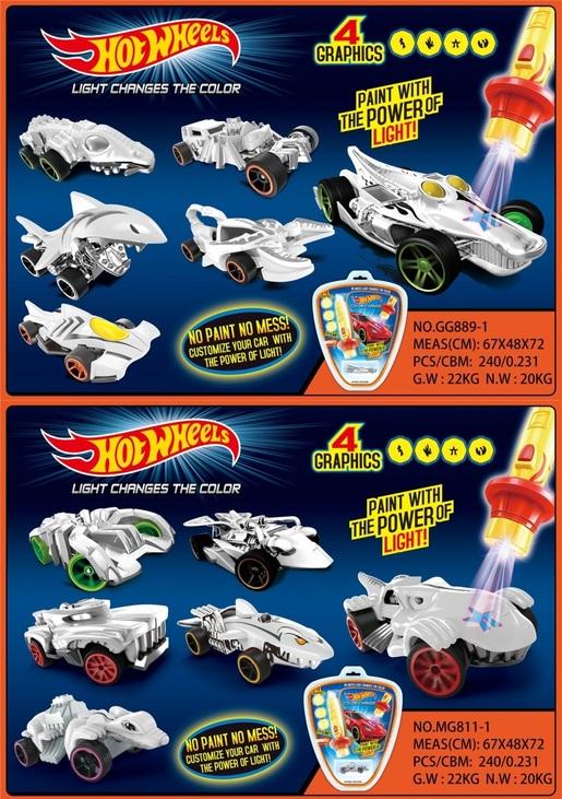 Машинка Hot Wheels MG811-1/GG889-1 змінює колір, лазер