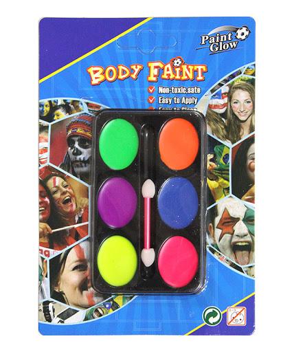 Фарба для обличчя 6 кольорів неон зі спонджем Імп