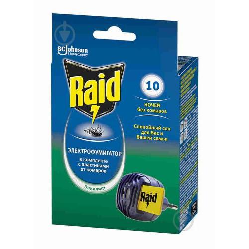 Електрофумігатор з пластинами Евкаліпт проти комарів Raid 323208