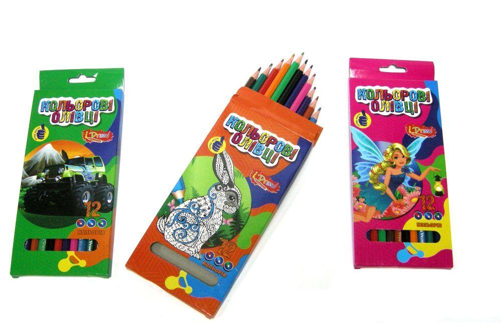 Олівці кольорові 12 кольорів пластикові i Draw 081933