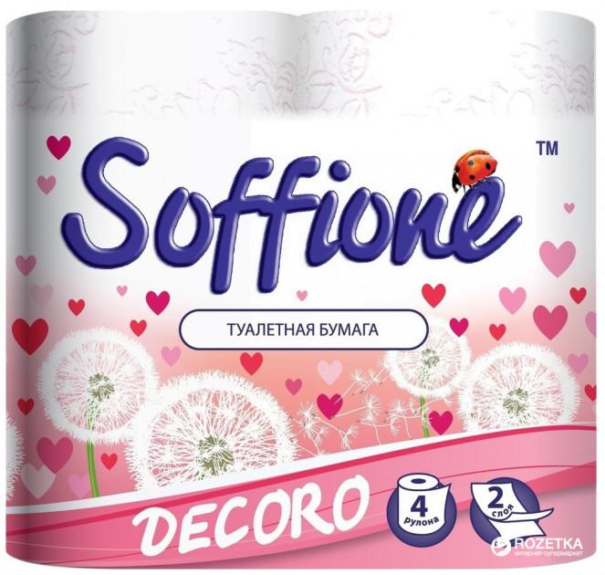 Папір туалетний 4шт Soffione Dekoro 2-х шаровий Біло/Рож
